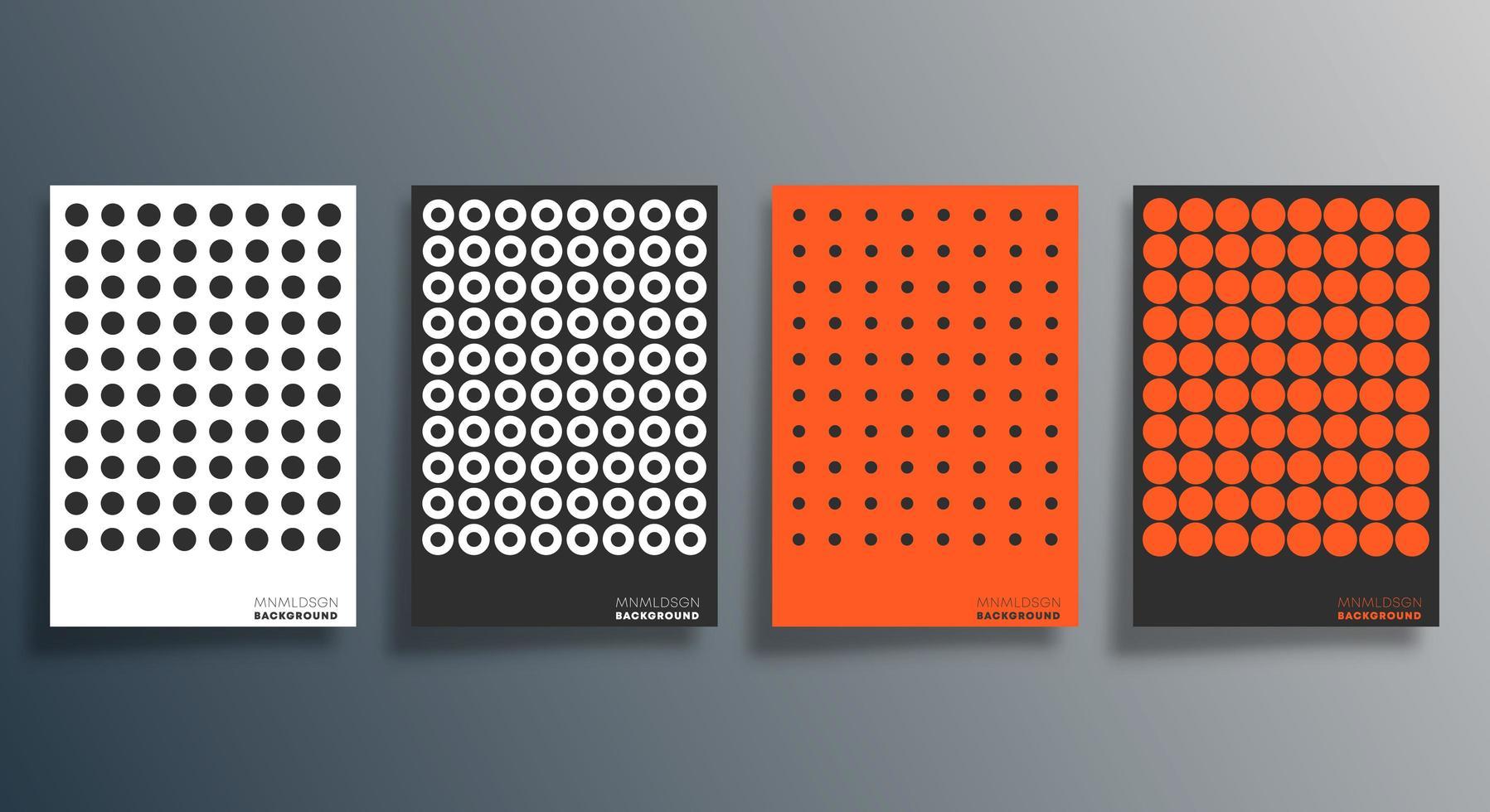 volante de diseño punteado naranja, negro, blanco, cartel, folleto vector