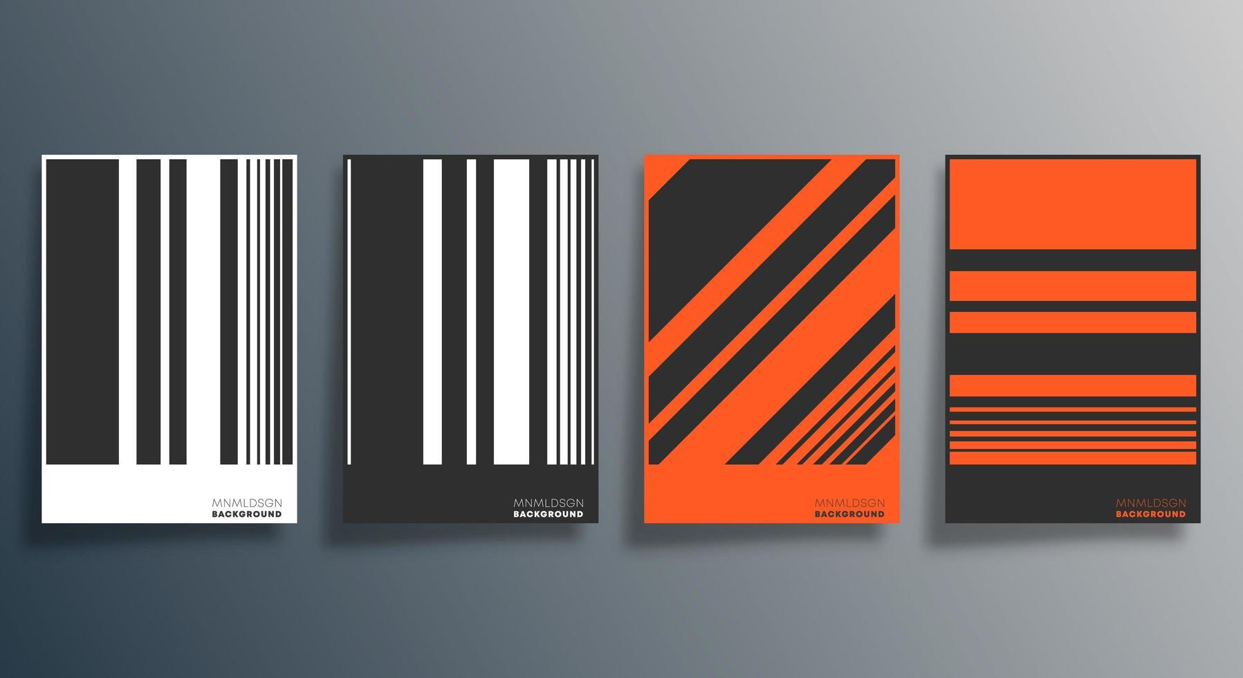 volante de diseño de rayas naranja, negro, blanco, cartel, folleto vector
