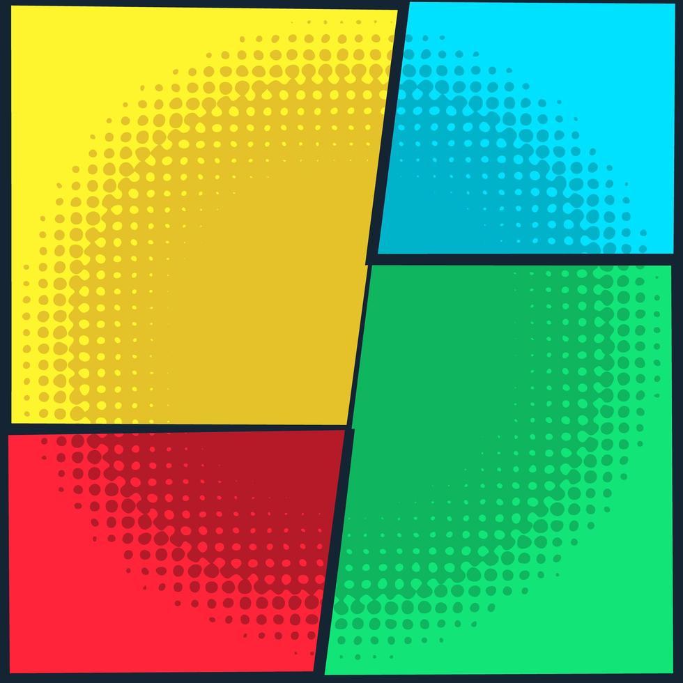 diseño de panel de semitono circular de cómic vector