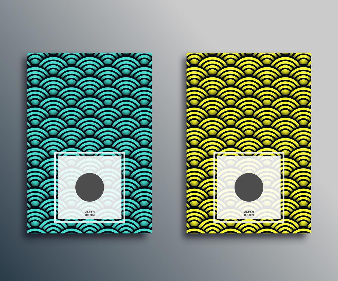 conjunto de patrones clásicos de ondas japonesas vector