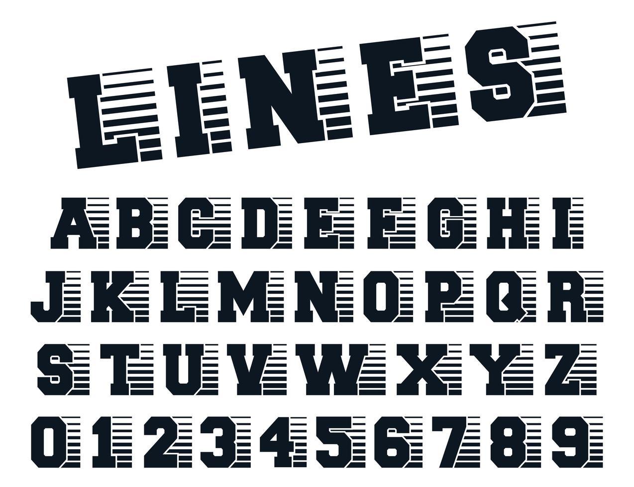 plantilla de alfabeto de líneas vector