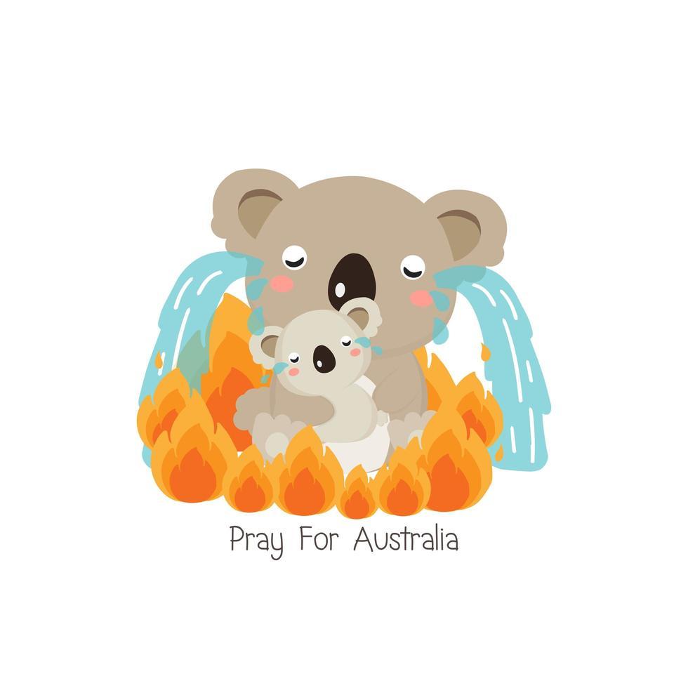 orar por el diseño de dibujos animados de australia vector