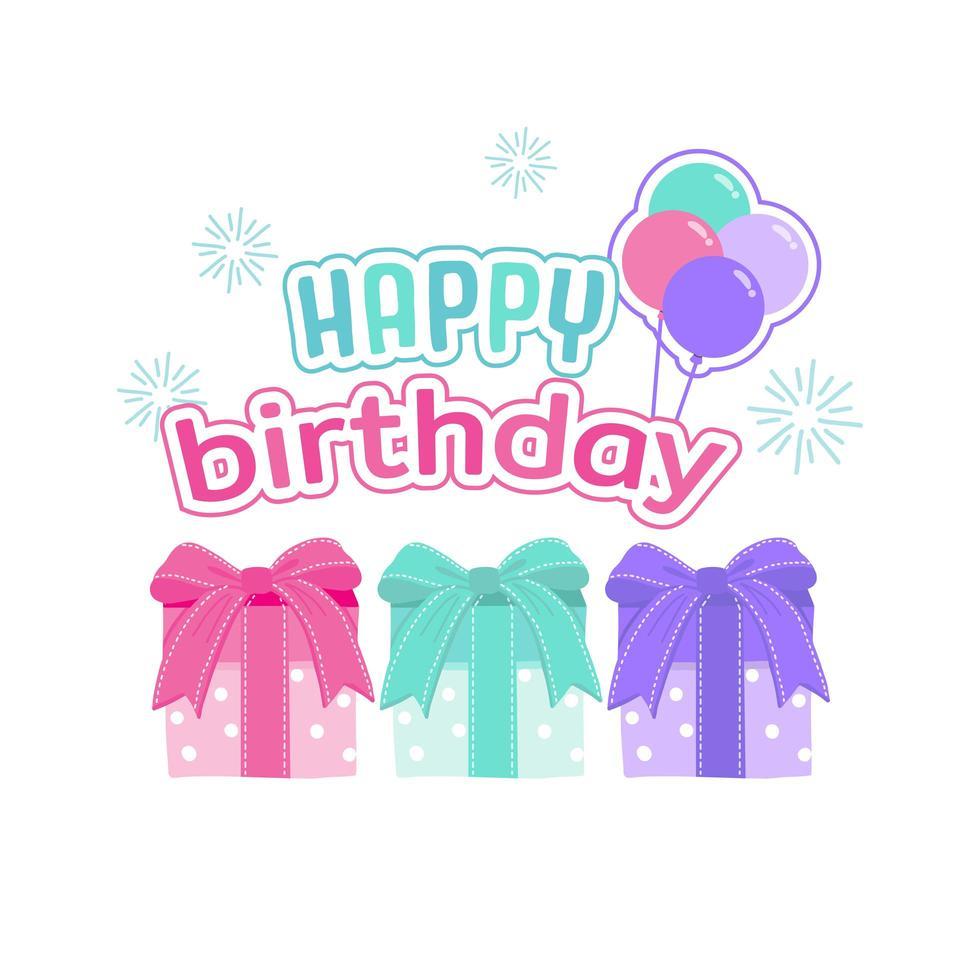 tarjeta de felicitación de feliz cumpleaños con cajas de regalo vector