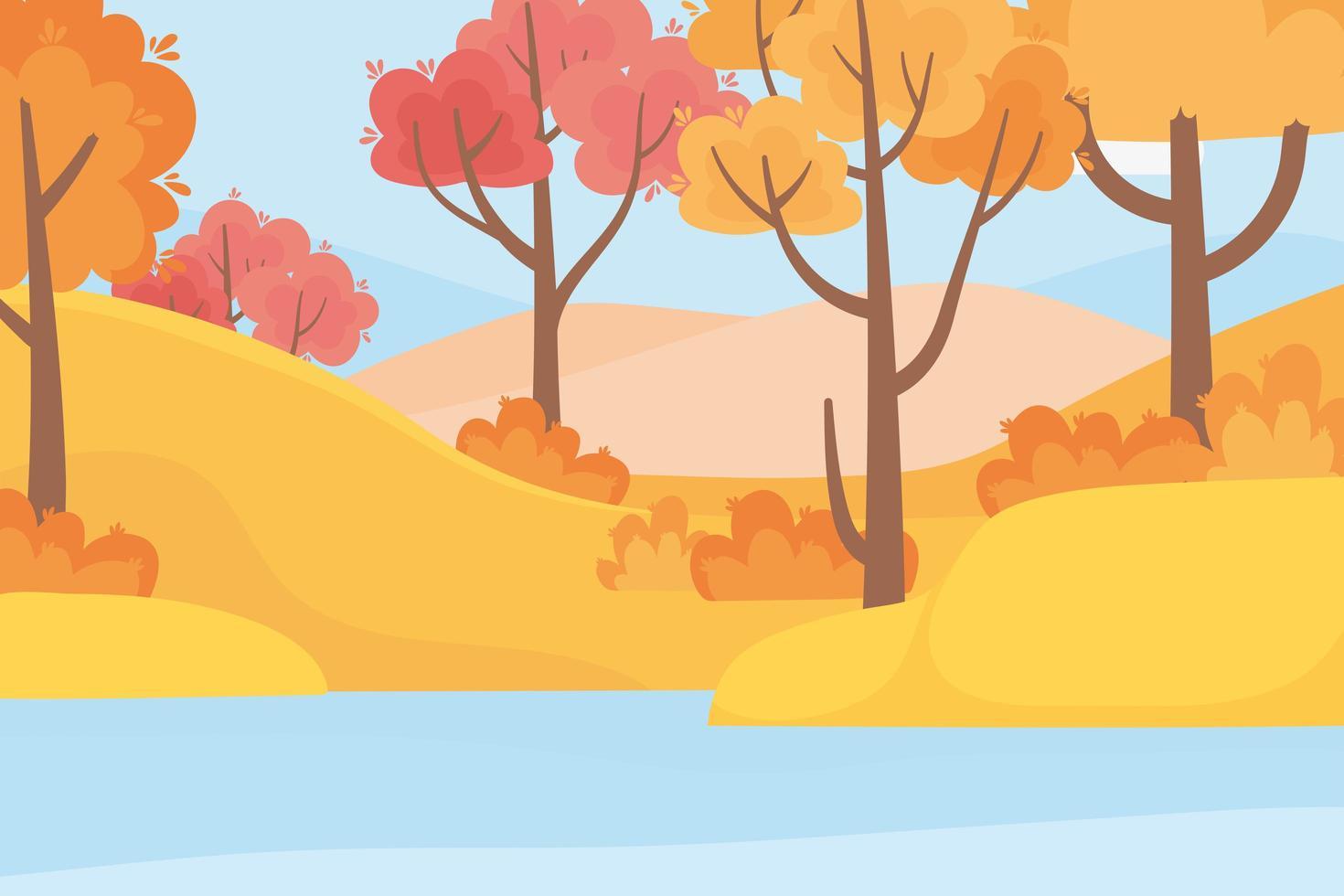 bosque, árboles, pasto y lago vector