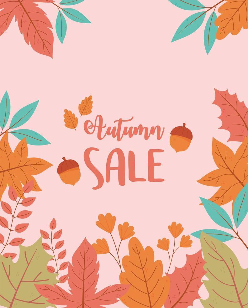cartel de venta comercial. árbol y hojas de fondo vector
