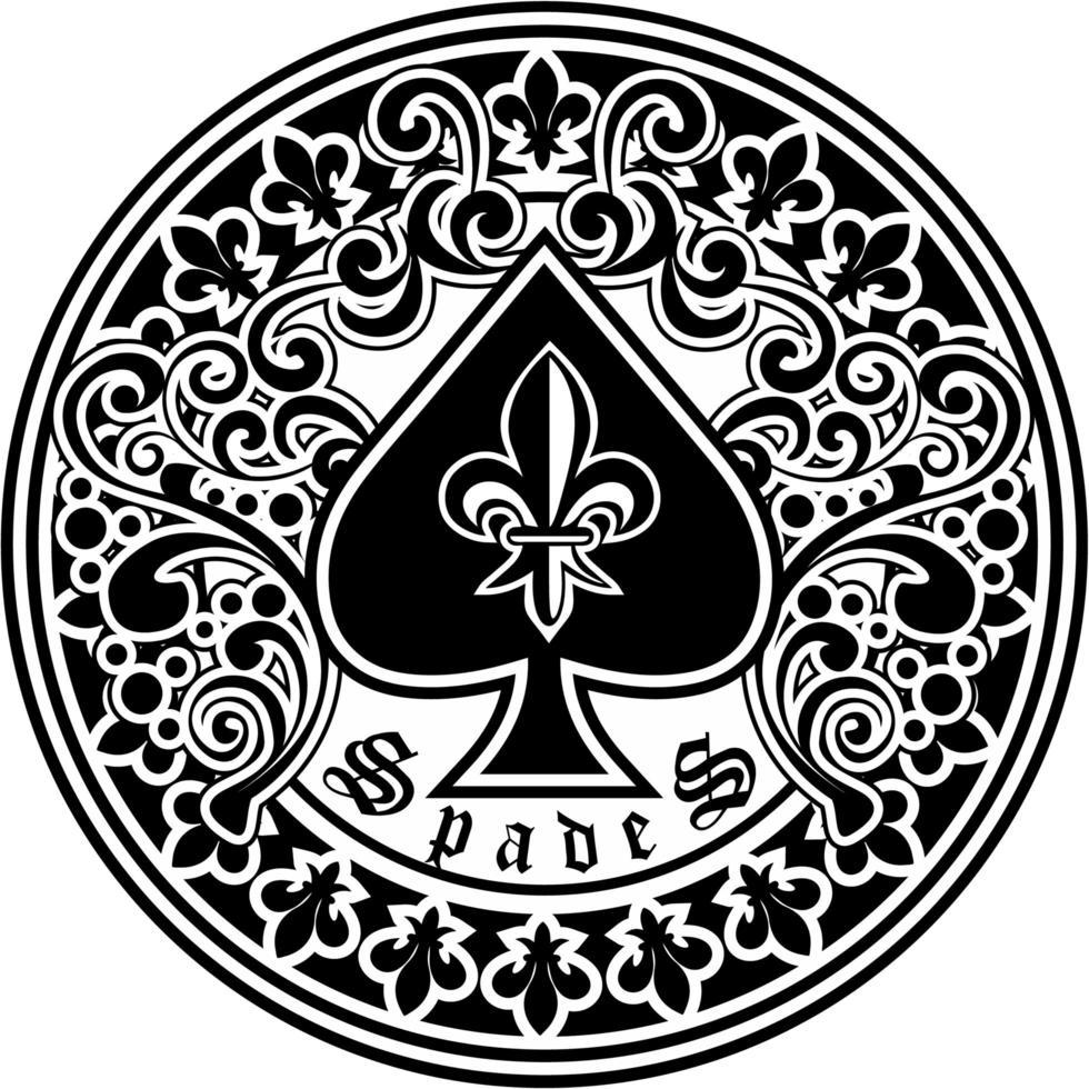 icono de espadas con filigrana y flor de lirio vector