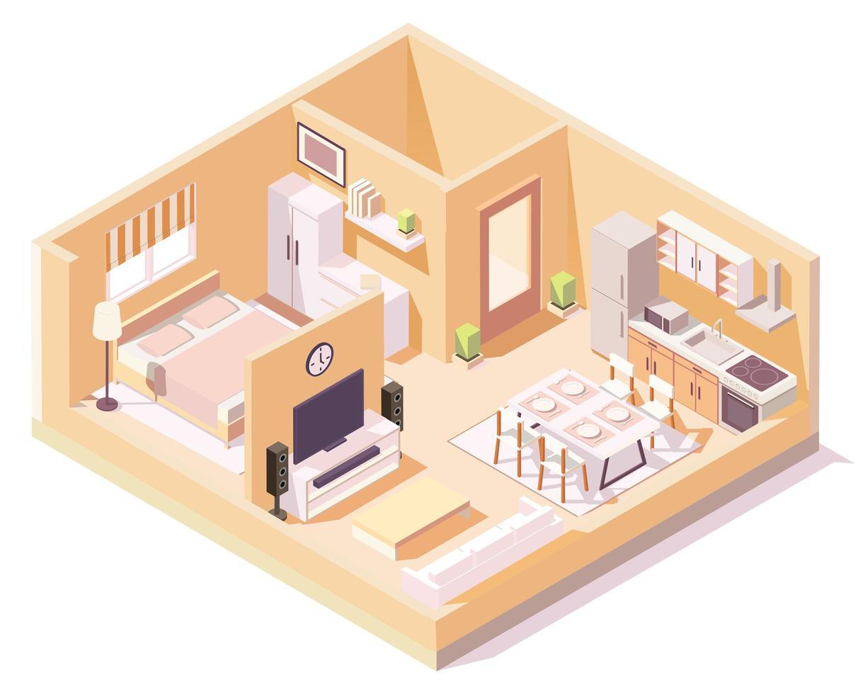 casa isométrica con paredes naranjas composición de diferentes habitaciones vector