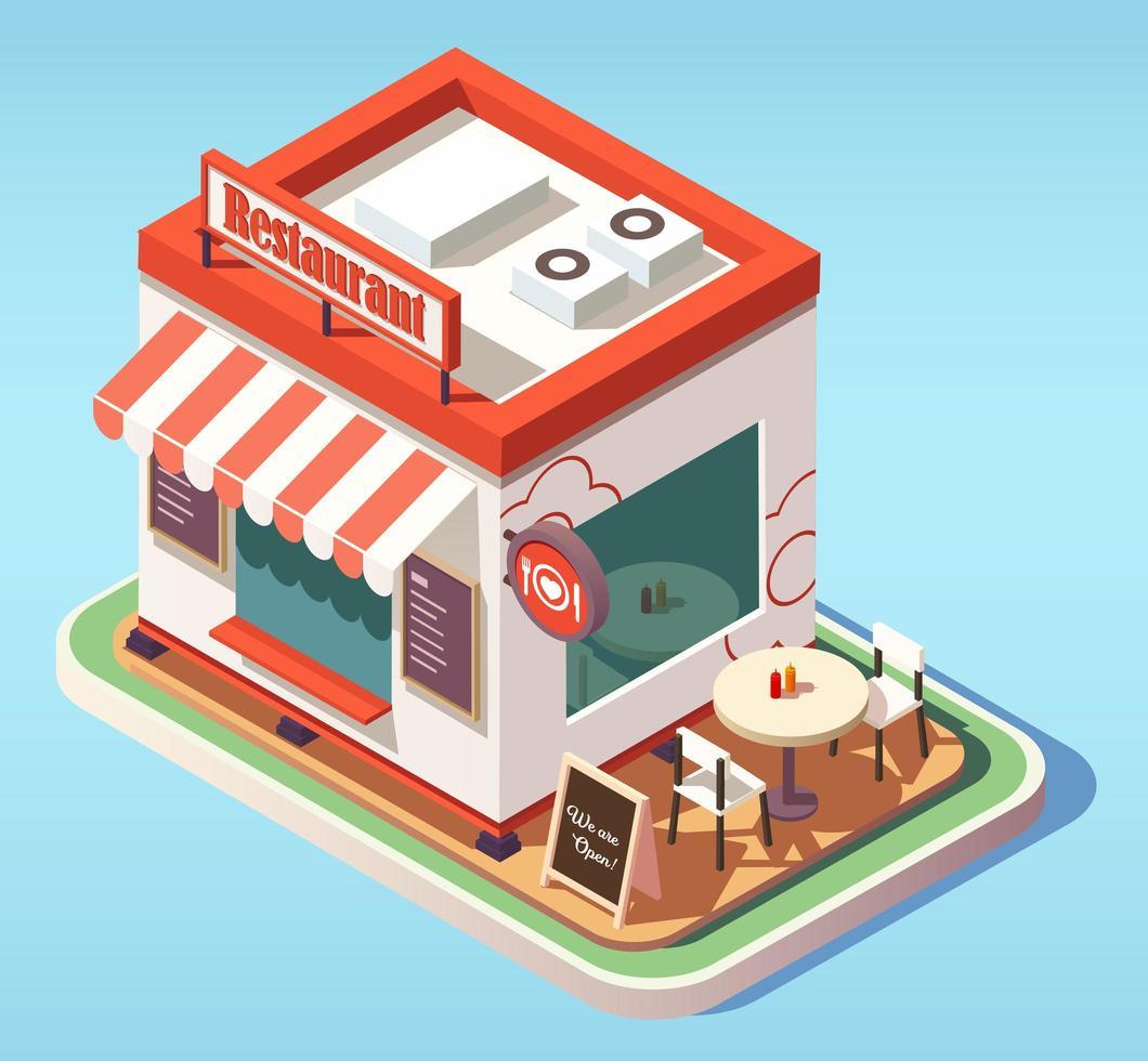pequeña cafetería o restaurante isométrica con mesas exteriores vector