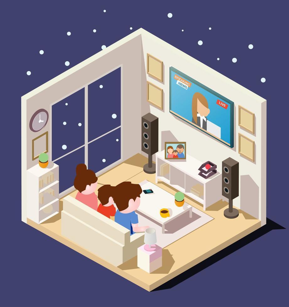 familia isométrica viendo noticias en la sala de estar vector