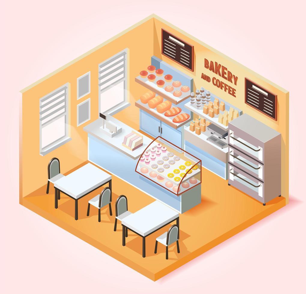 cafetería isométrica y panadería. vector