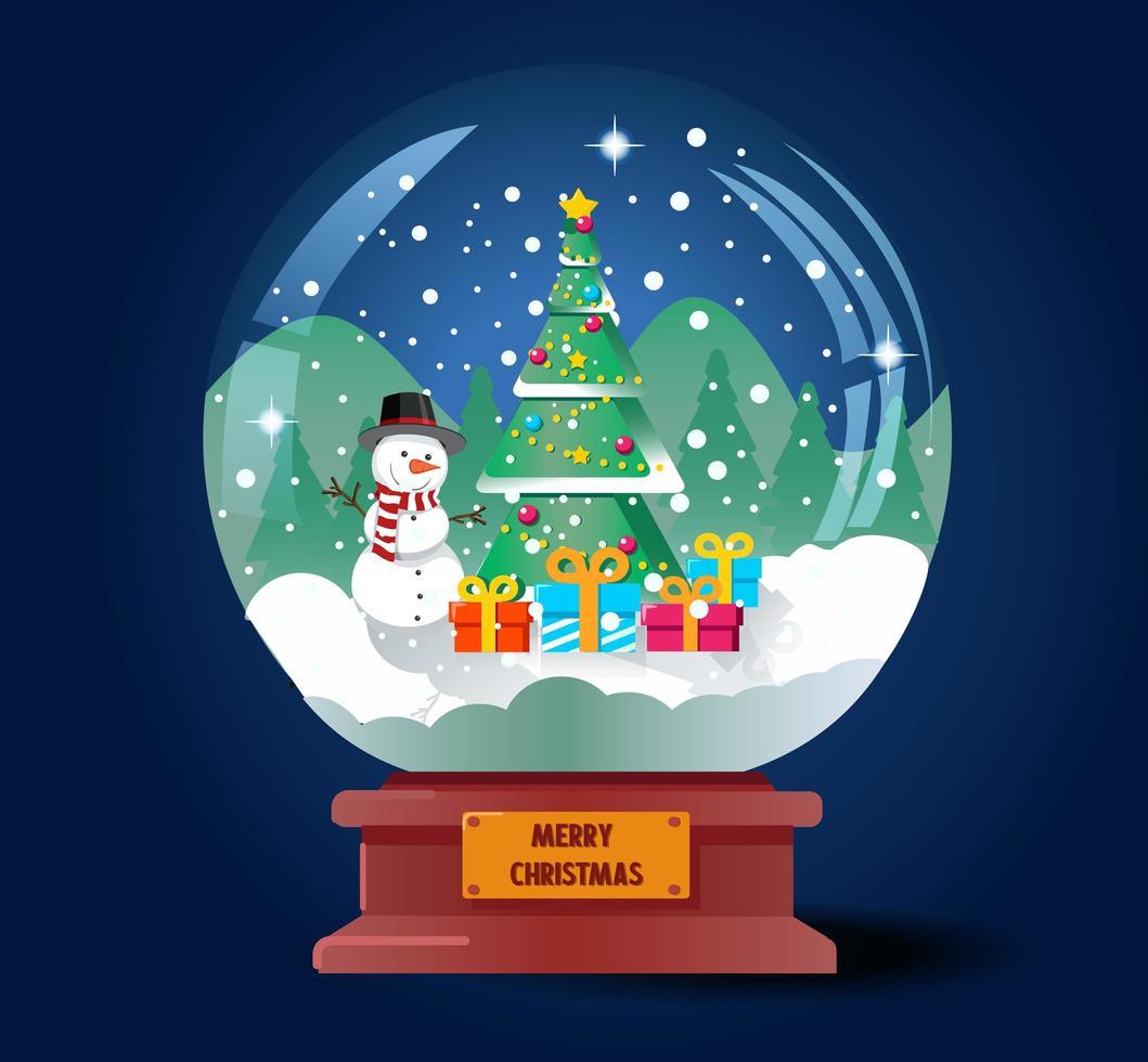 bola de cristal navideña con árbol de navidad y muñeco de nieve vector