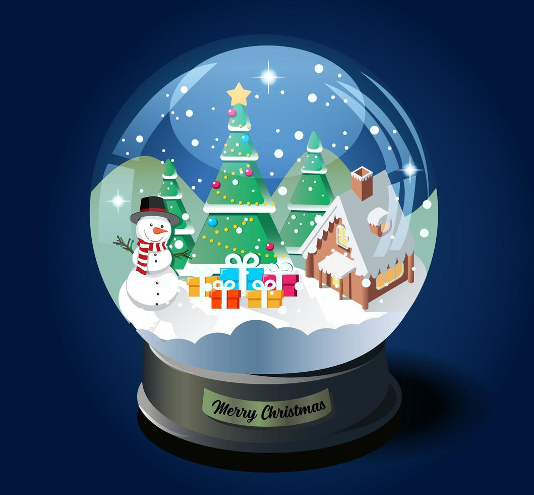 bola de cristal navideña con árbol de navidad, casa y muñeco de nieve vector