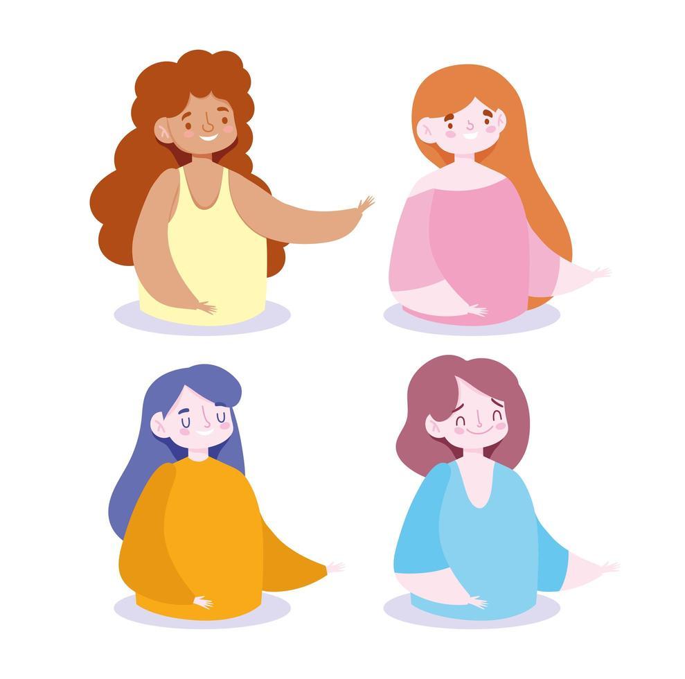 conjunto de avatares de mujeres vector