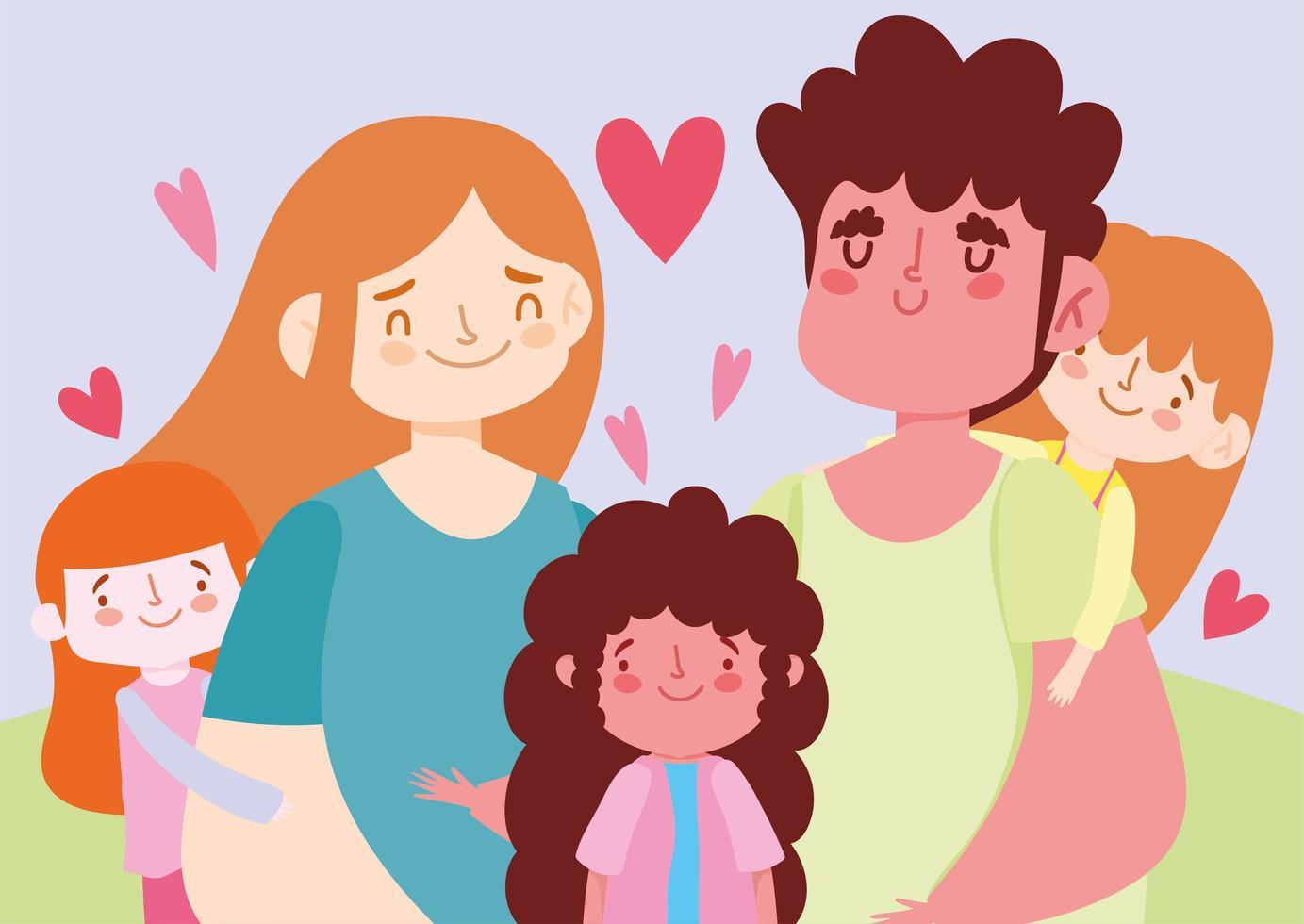 madre padre e hijas con corazones vector