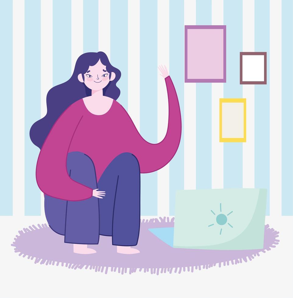 mujer joven, sentado, con, computador portatil, en, habitación vector