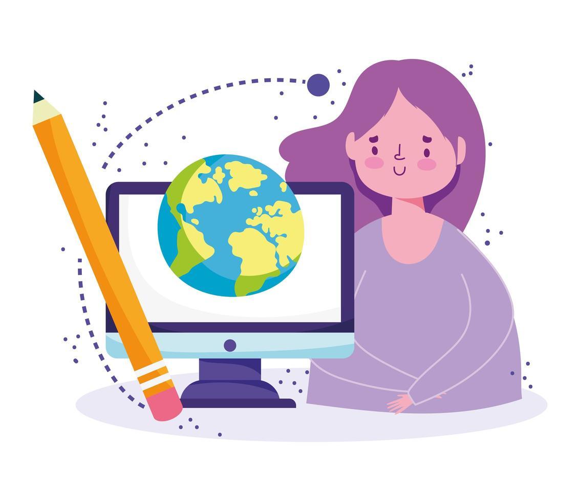 chica estudiante con computadora, globo, lápiz vector