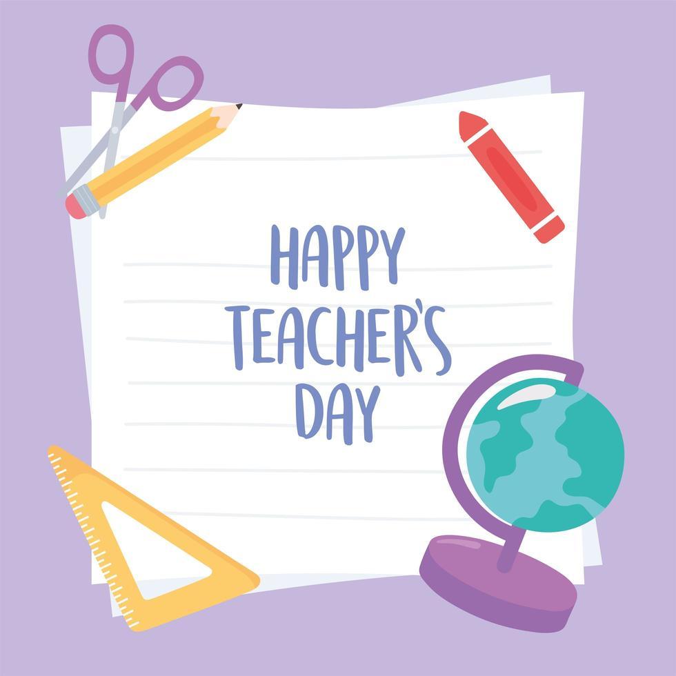 diseño del día del maestro con papel y suministros. vector
