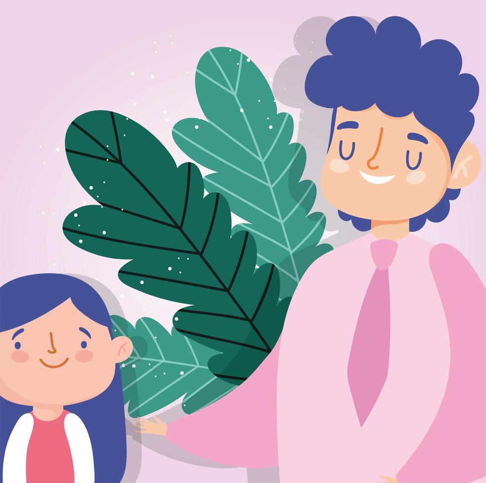 padre e hija con hojas vector