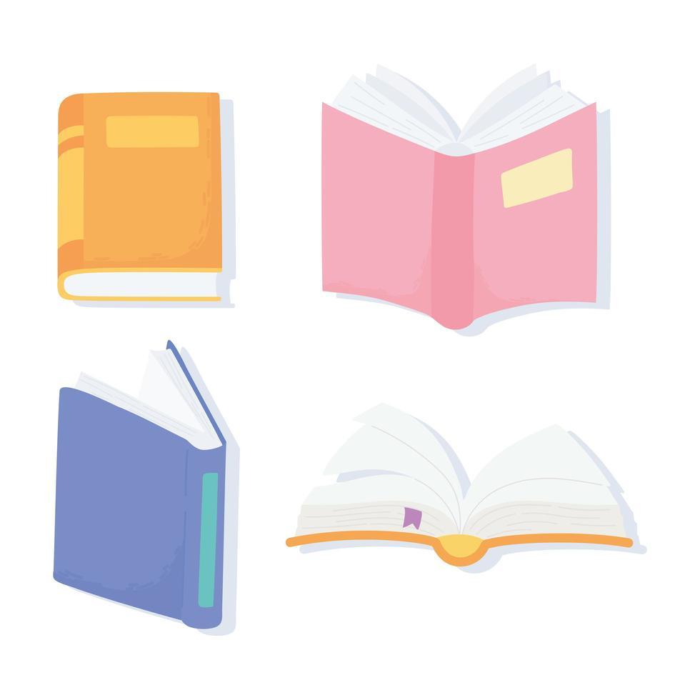 día internacional de la alfabetización. iconos de literatura de libros de texto vector