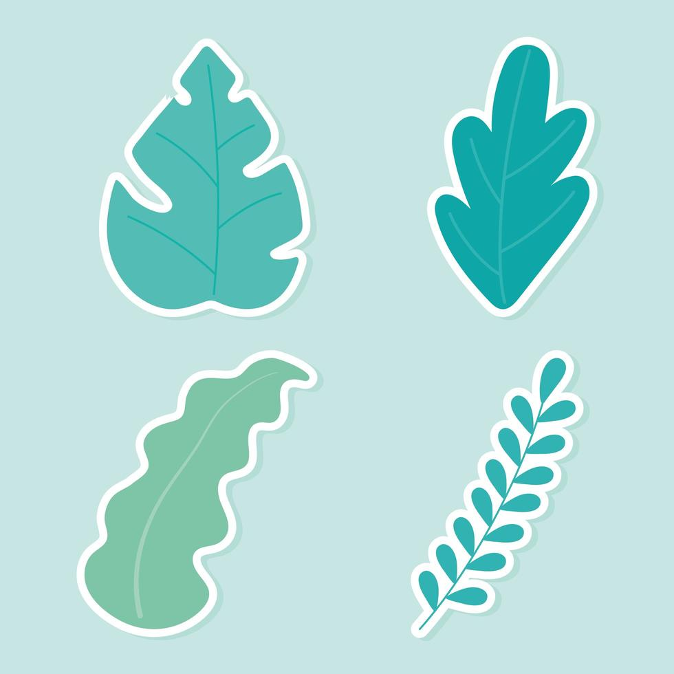 conjunto de iconos de hojas de plantas vector