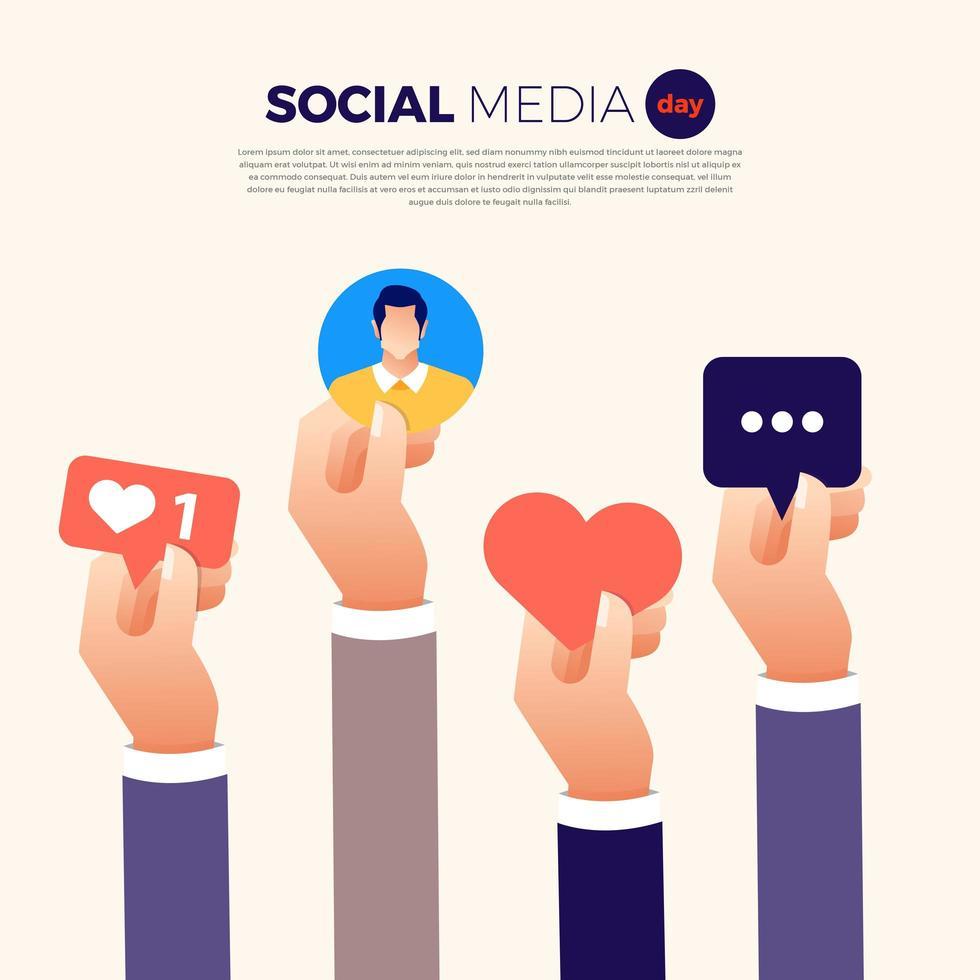 manos del día de las redes sociales con diseño de iconos vector
