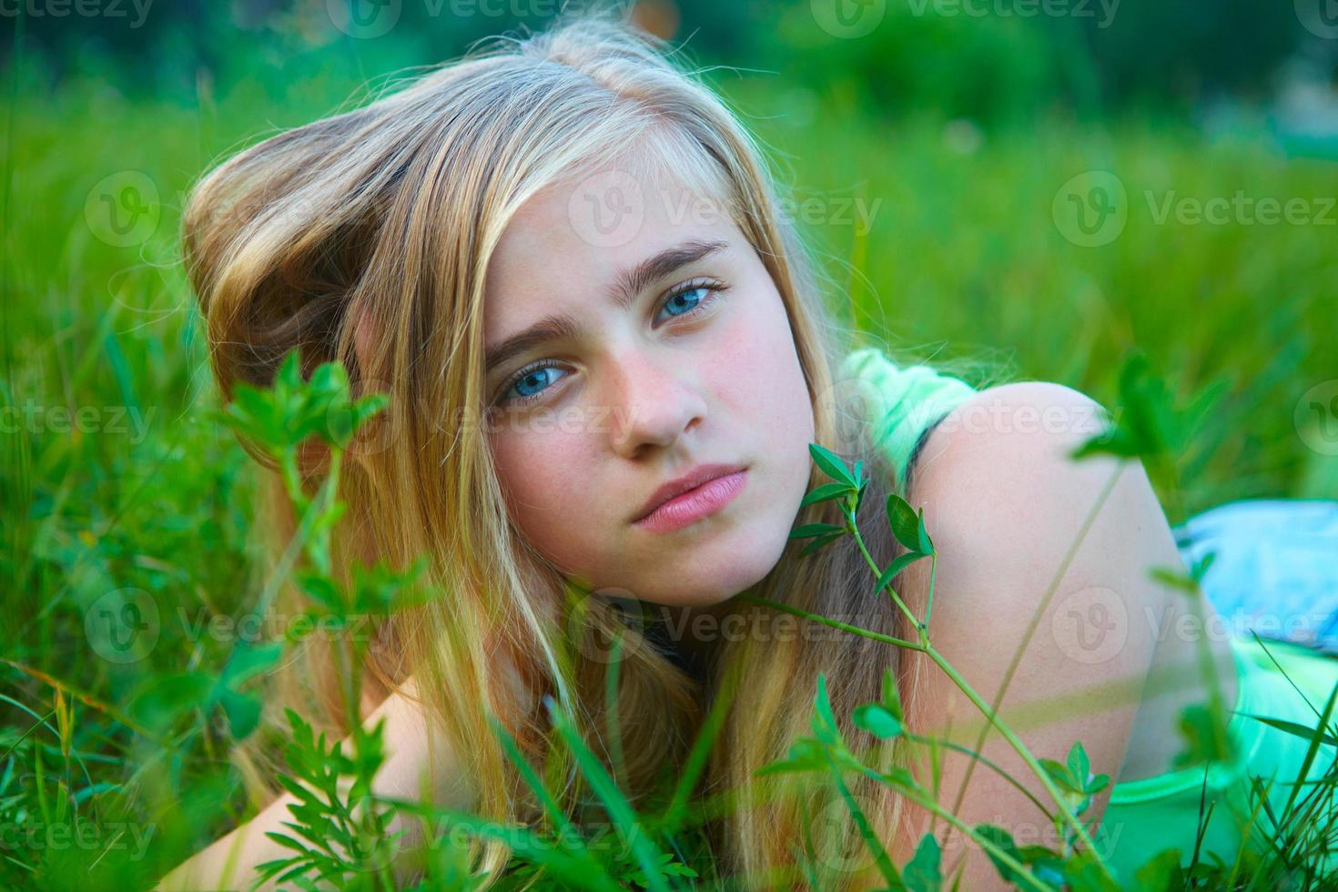 Young girl in the garden photo