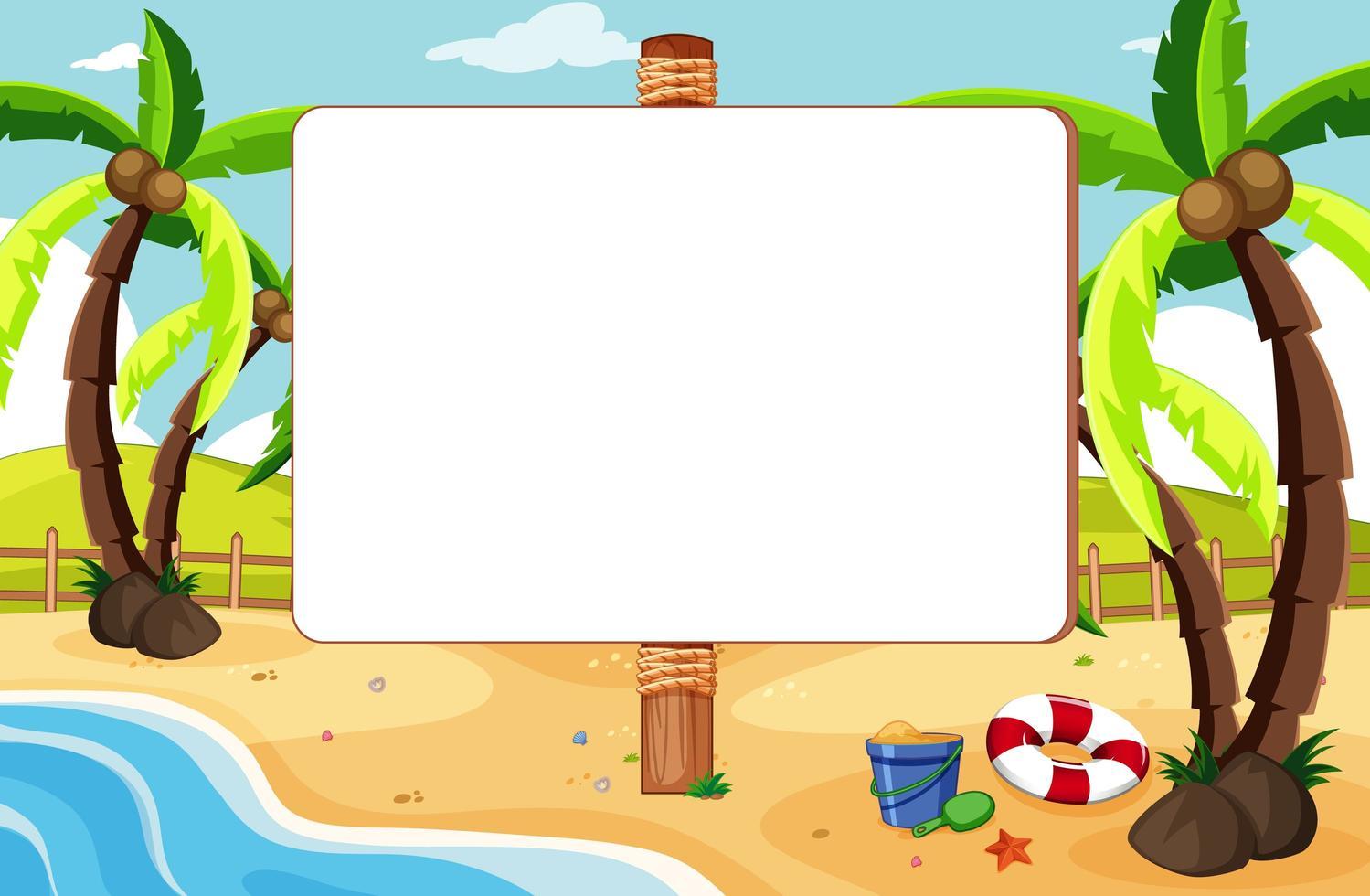 tablero de banner vacío en un paisaje de playa tropical vector