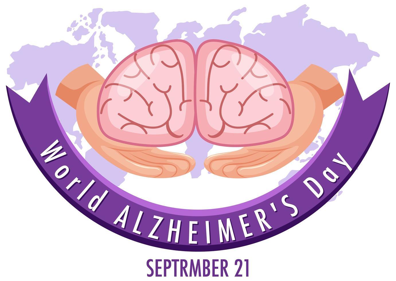 logotipo del día mundial del alzheimer o banner con cerebro vector