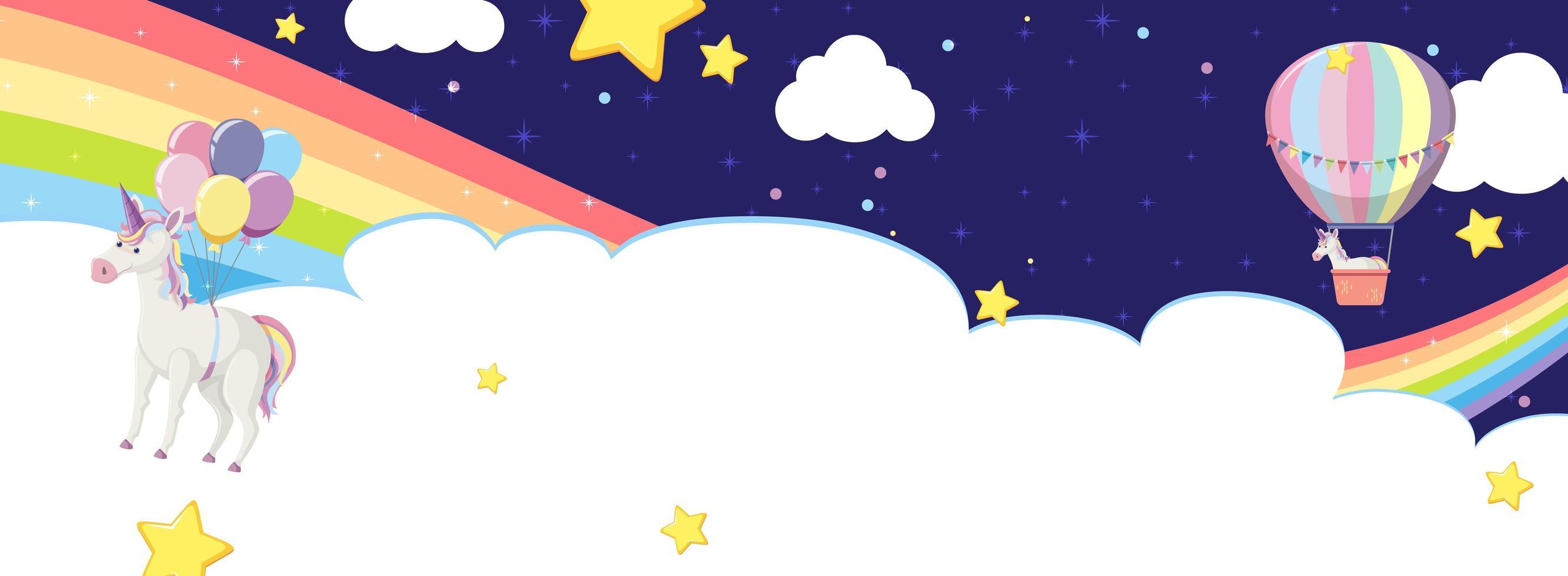 nube en blanco con unicornio en arco iris y globo aerostático vector