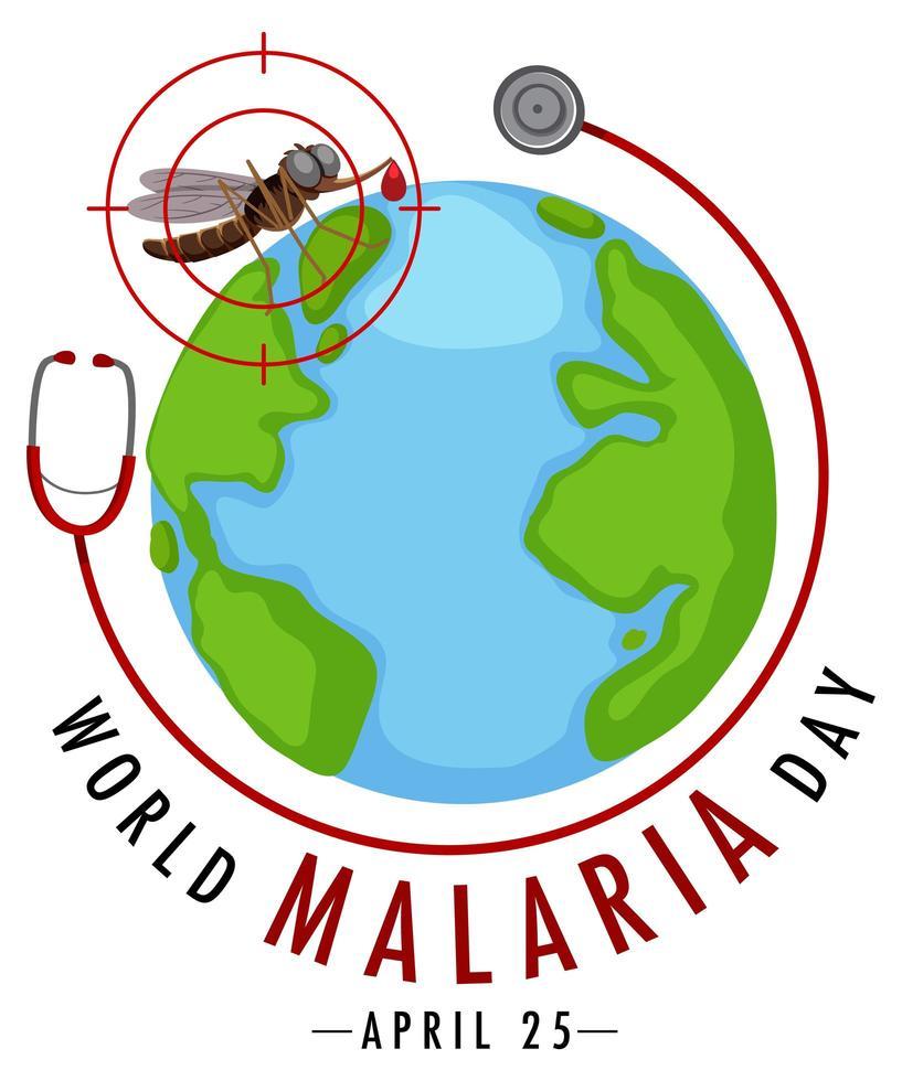 logotipo del día mundial de la malaria o pancarta con mosquitos y estetoscopio vector