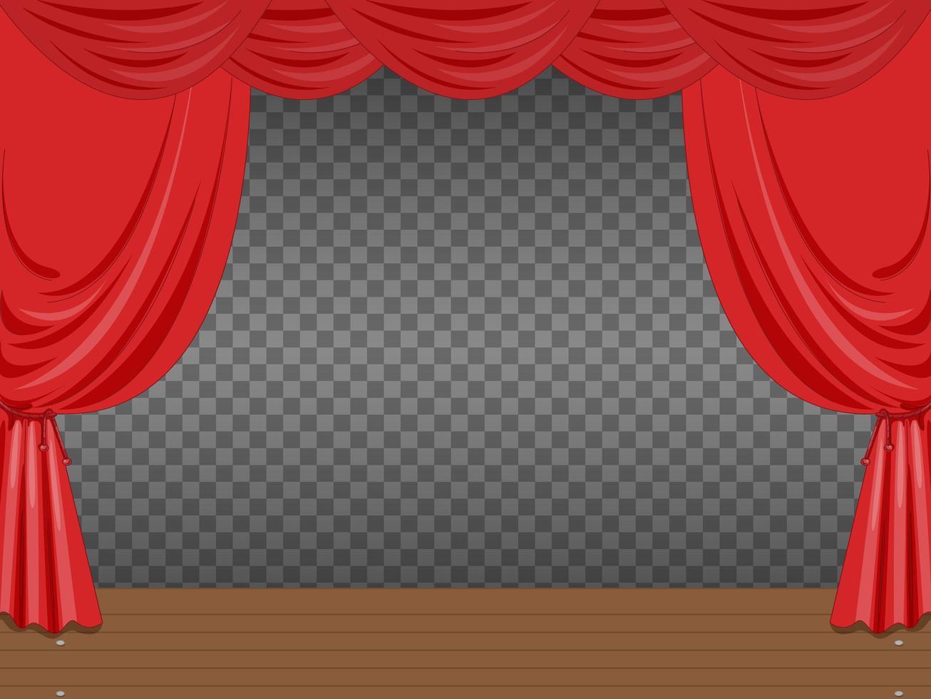 escenario vacío con cortinas rojas transparentes vector