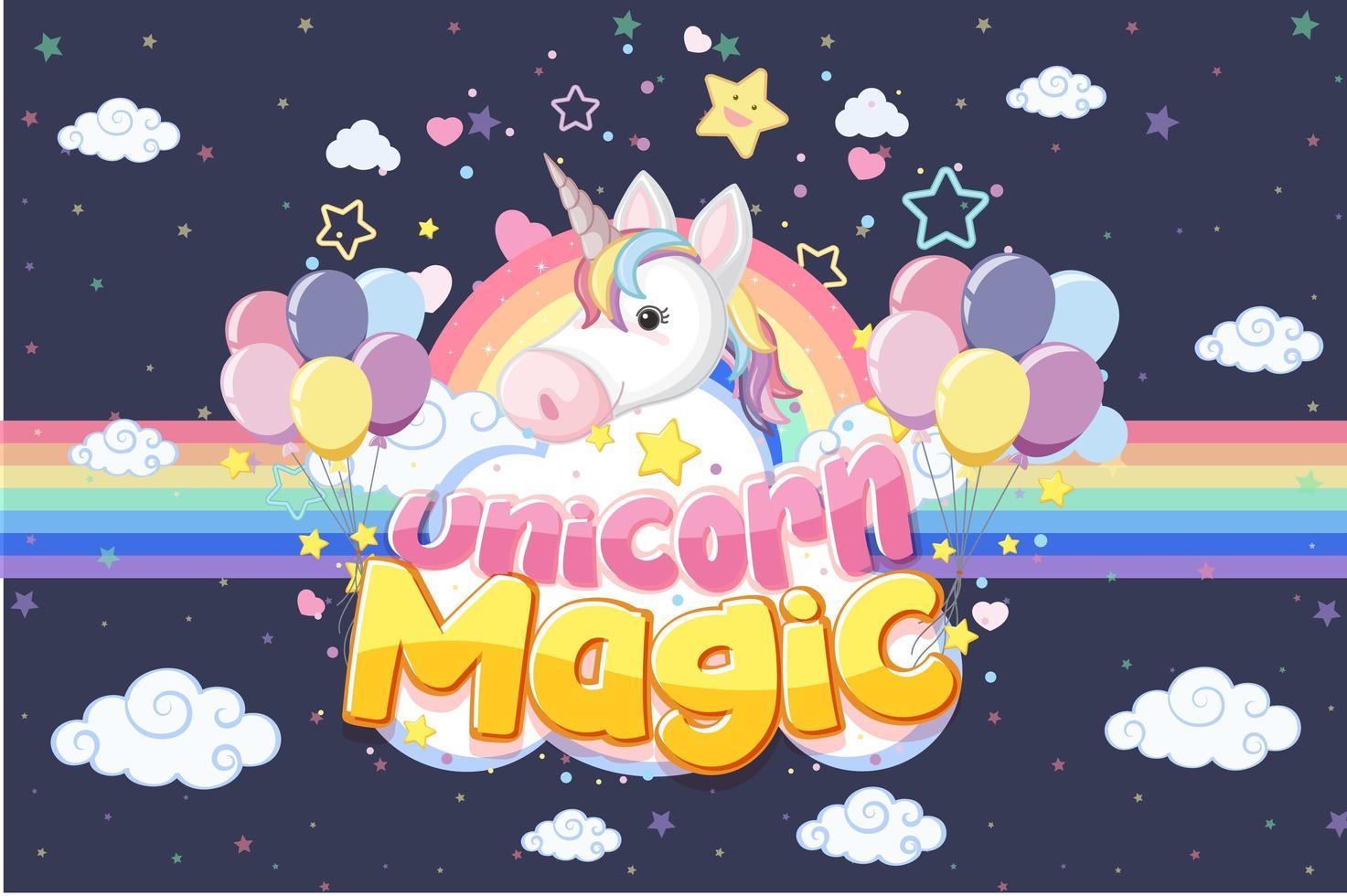 banner de unicornio en color de fondo pastel vector
