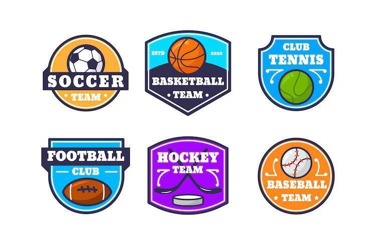 colorida colección de insignias con el logotipo del equipo deportivo vector
