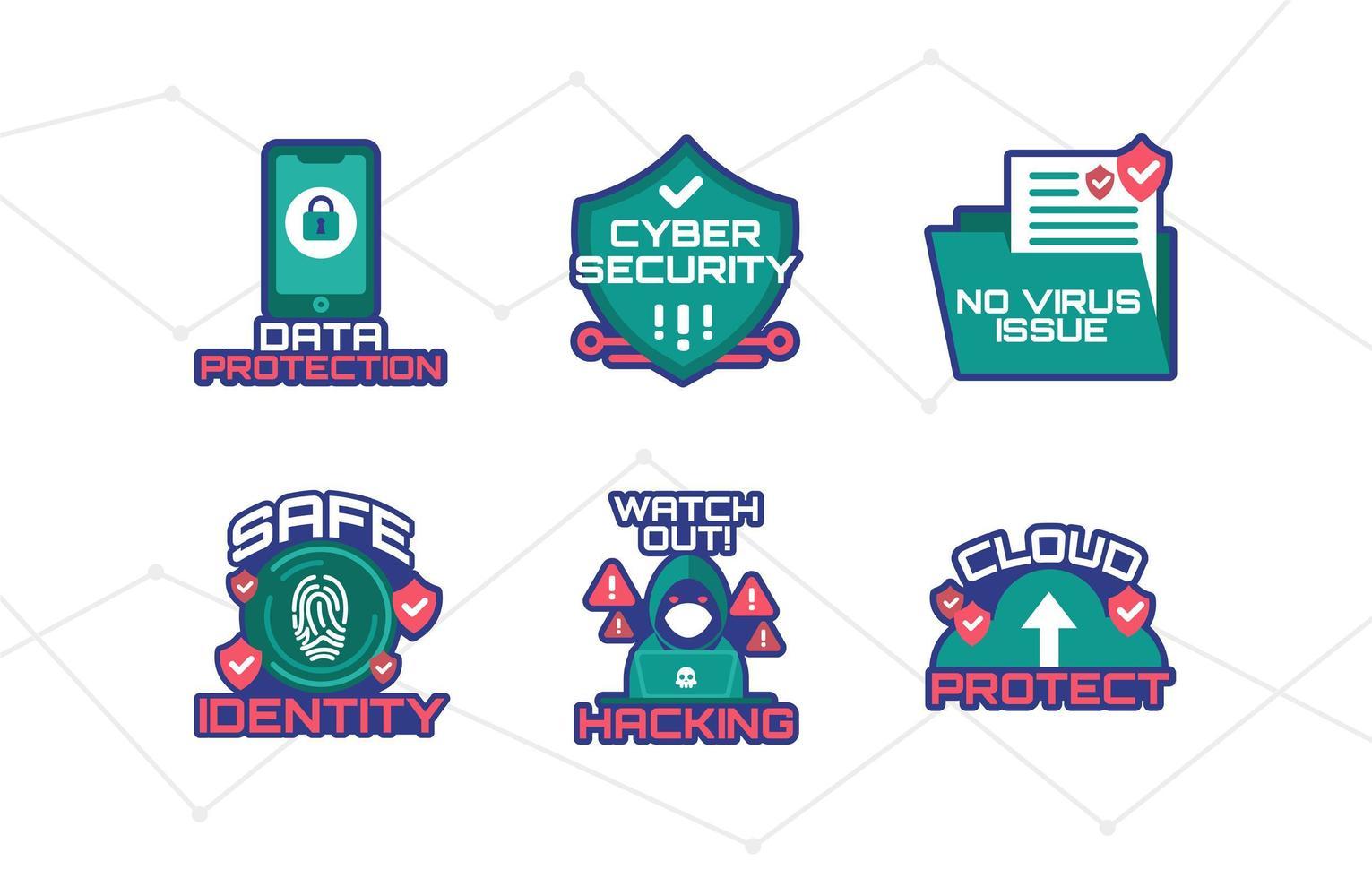 paquete de pegatinas de protección cibernética vector
