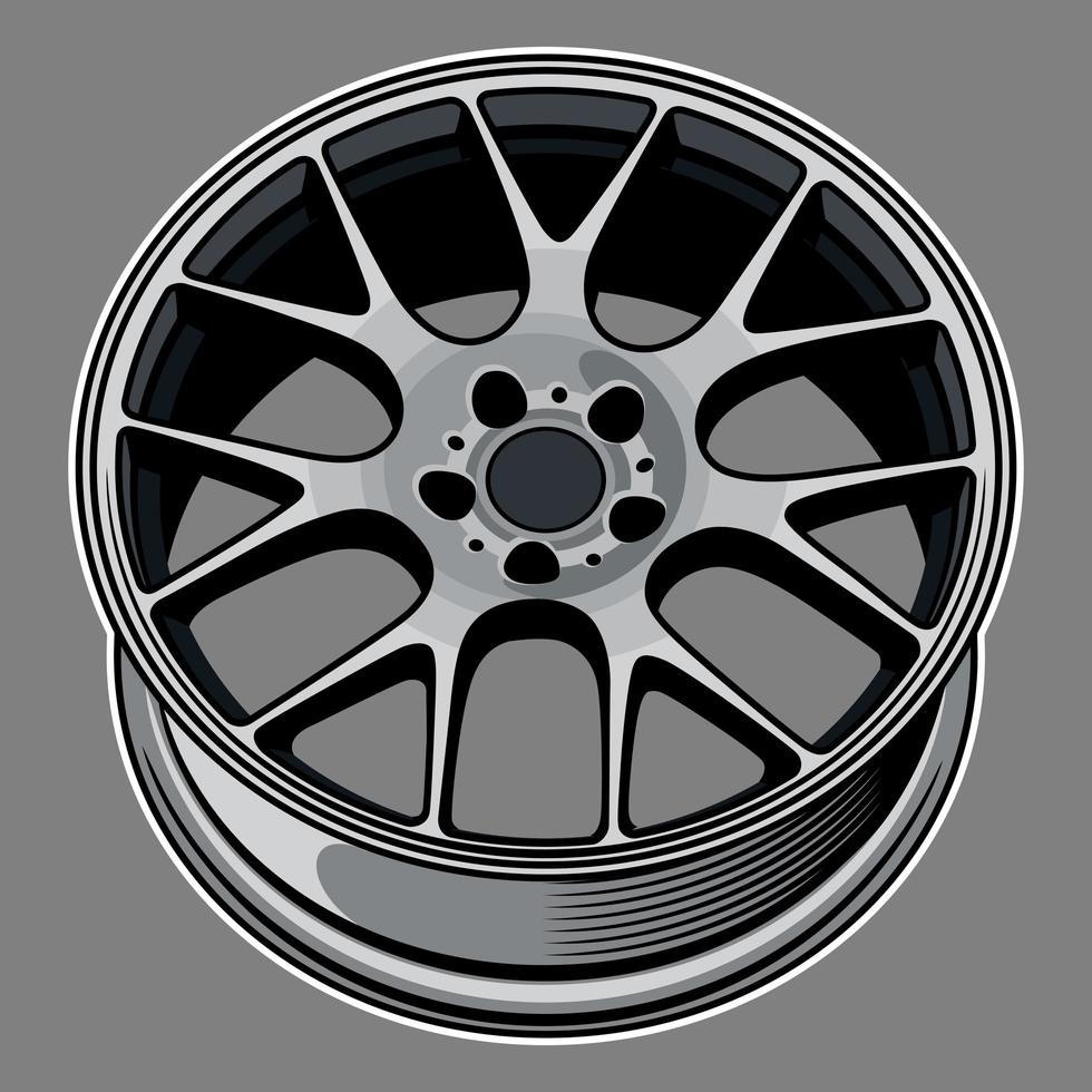 dibujo de rueda de coche vector