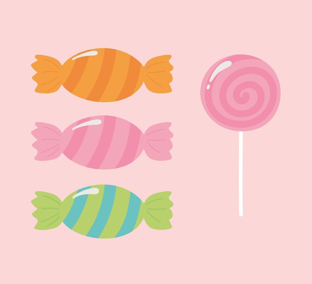 dulces iconos sobre fondo rosa vector