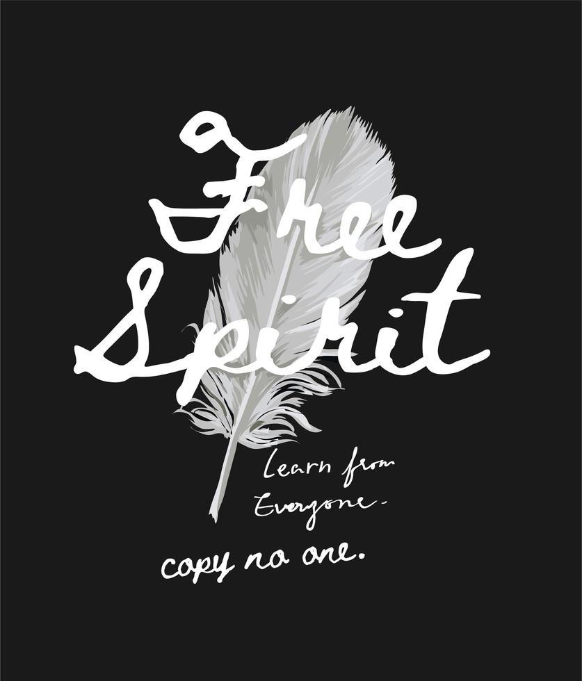 pluma con letras de espíritu libre vector