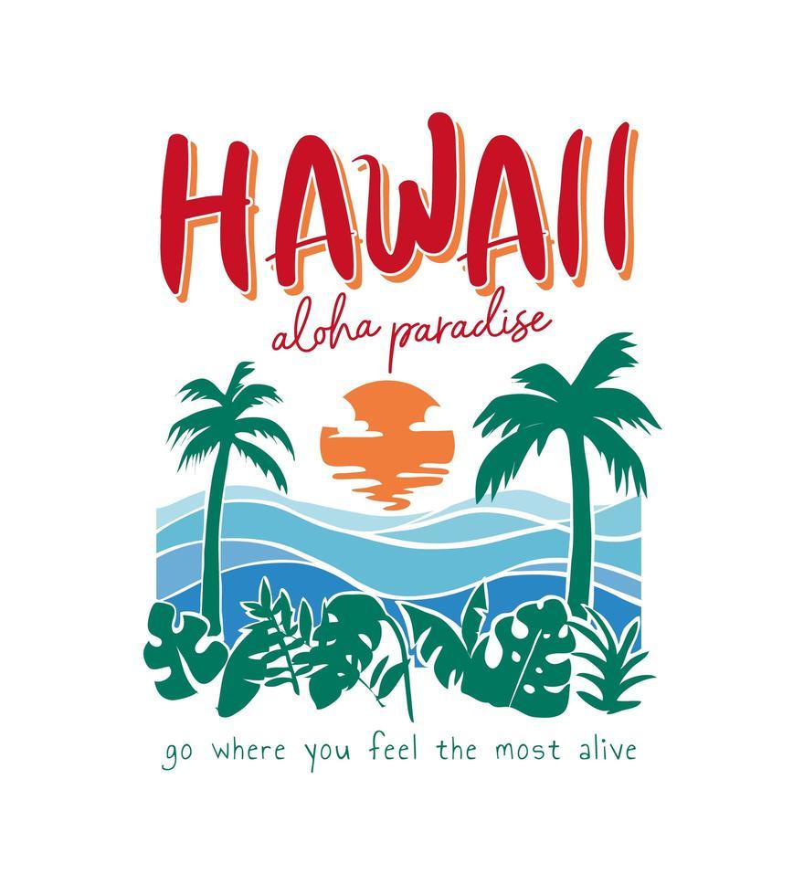 letras de hawaii con playa tropical vector