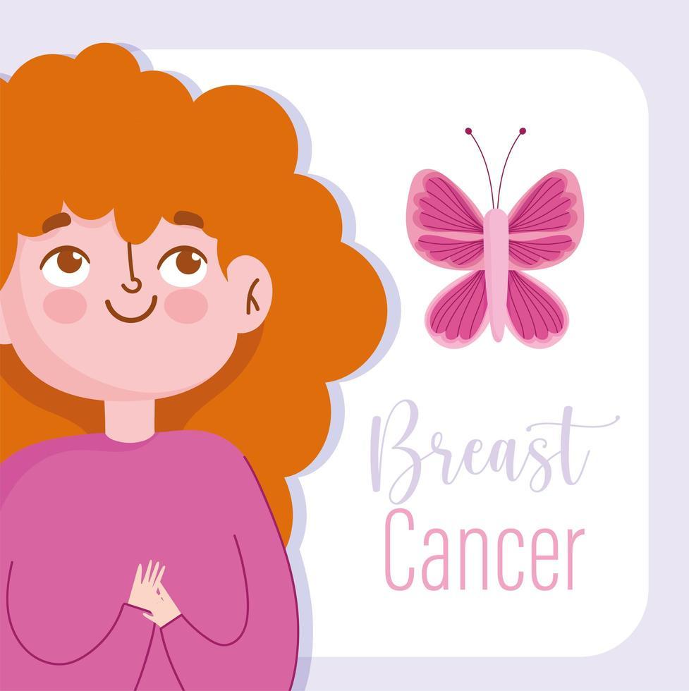 mes de concientización sobre el cáncer de mama con mujer de dibujos animados vector