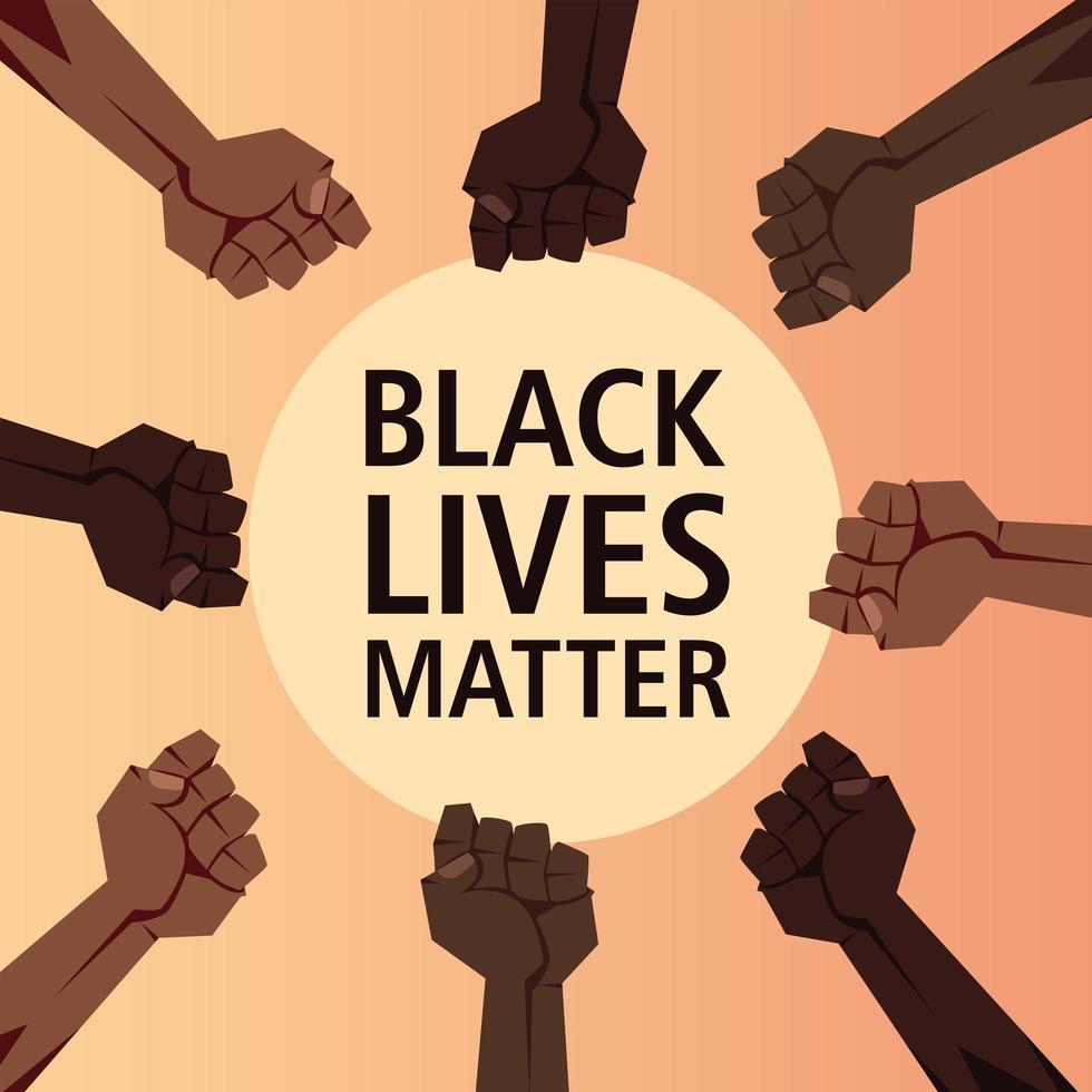 las vidas negras importan con los puños en círculo vector