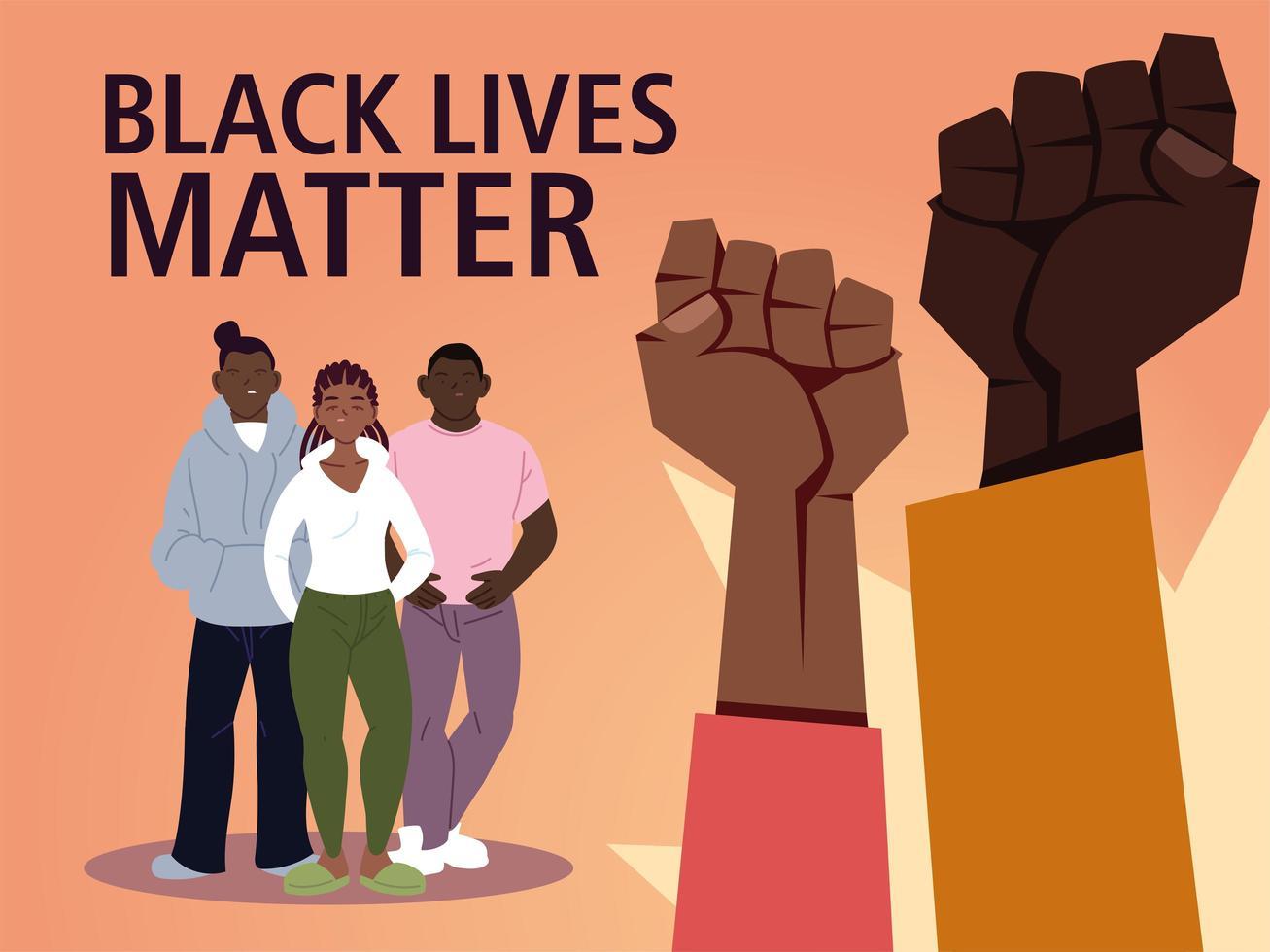 las vidas negras importan con puños niñas y niños vector