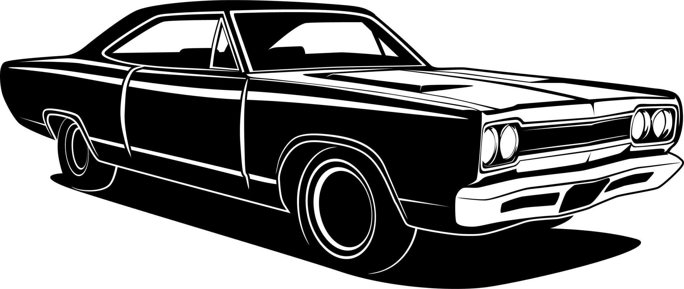 dibujo de carro retro blanco y negro vector