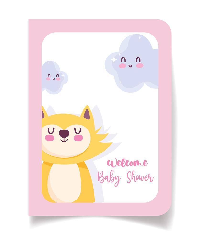 tarjeta de baby shower con lindo gato y nubes vector