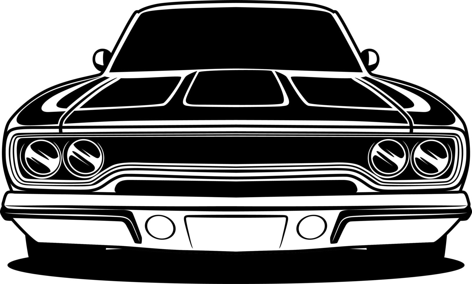 Black and white car front drawing vector