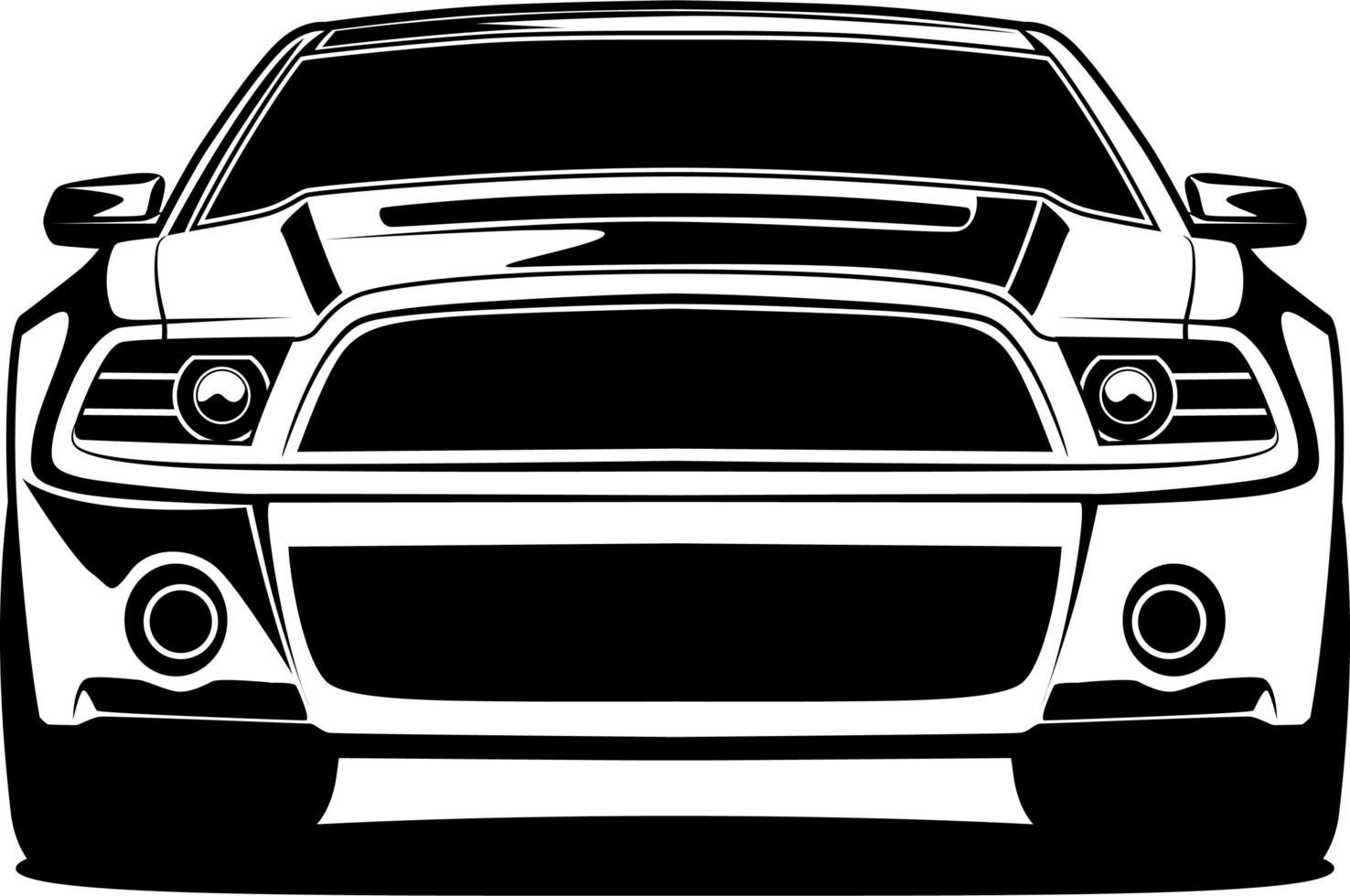dibujo frontal del coche blanco y negro vector
