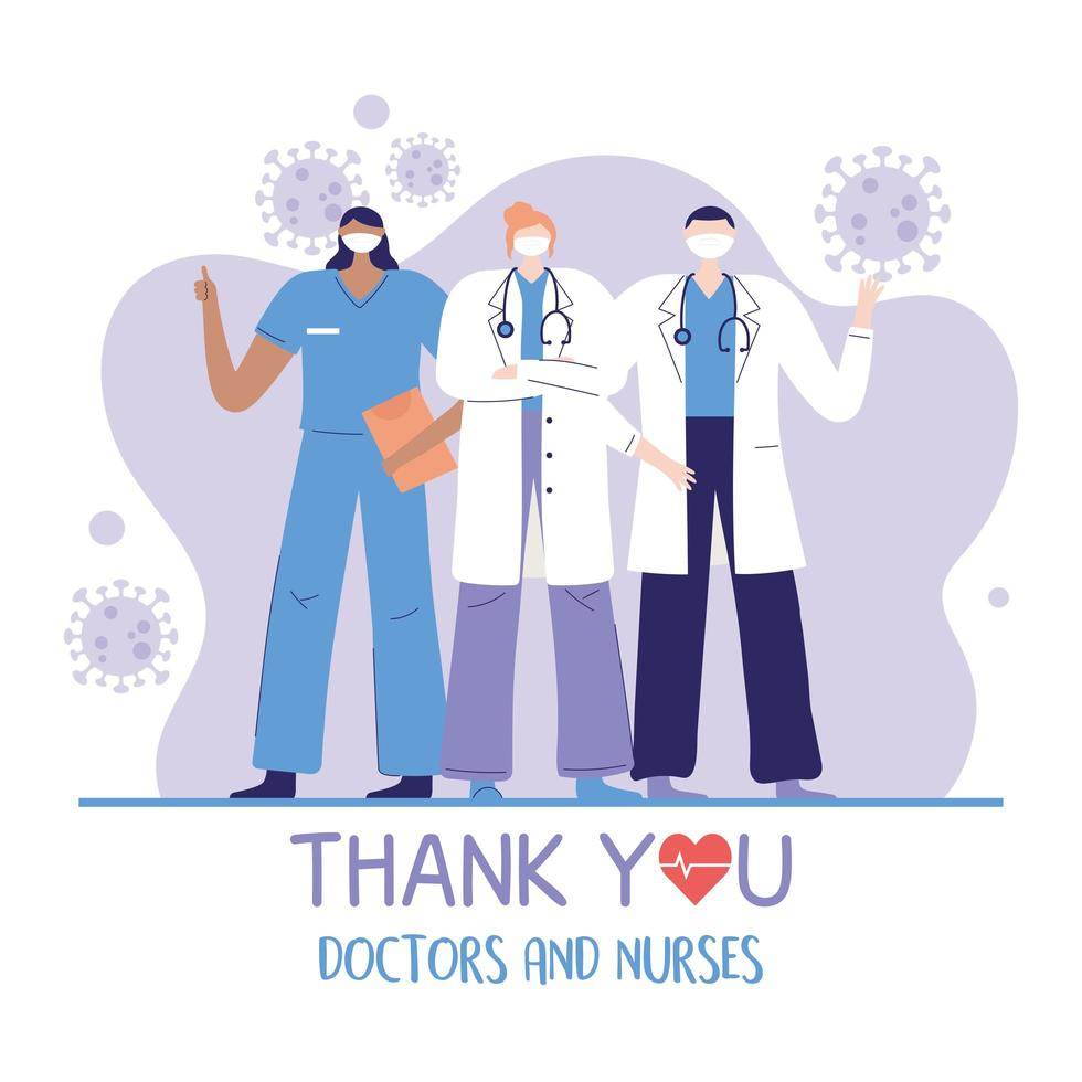 grupo de médicos y equipo de enfermeras vector