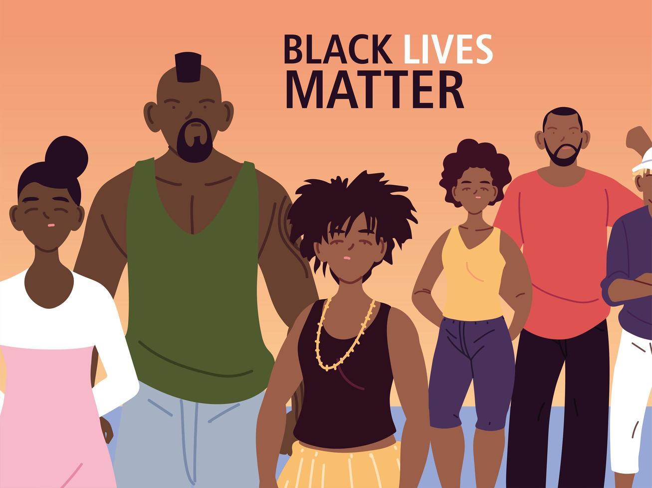 las vidas negras importan con las familias vector