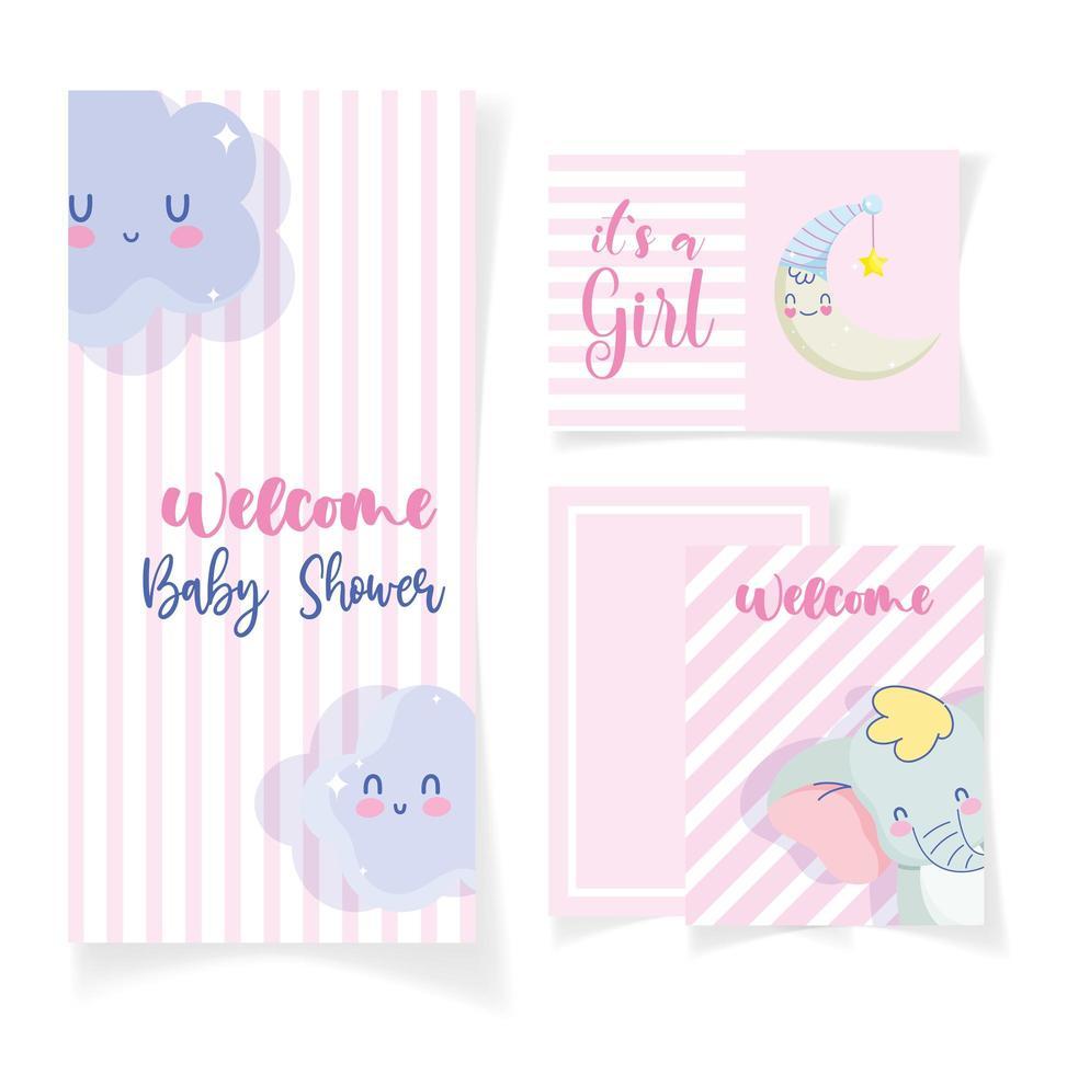 tarjeta de baby shower con elefante y luna con nubes vector