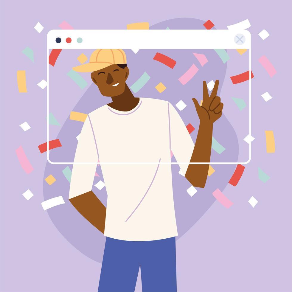 Virtual party man cartoon vector