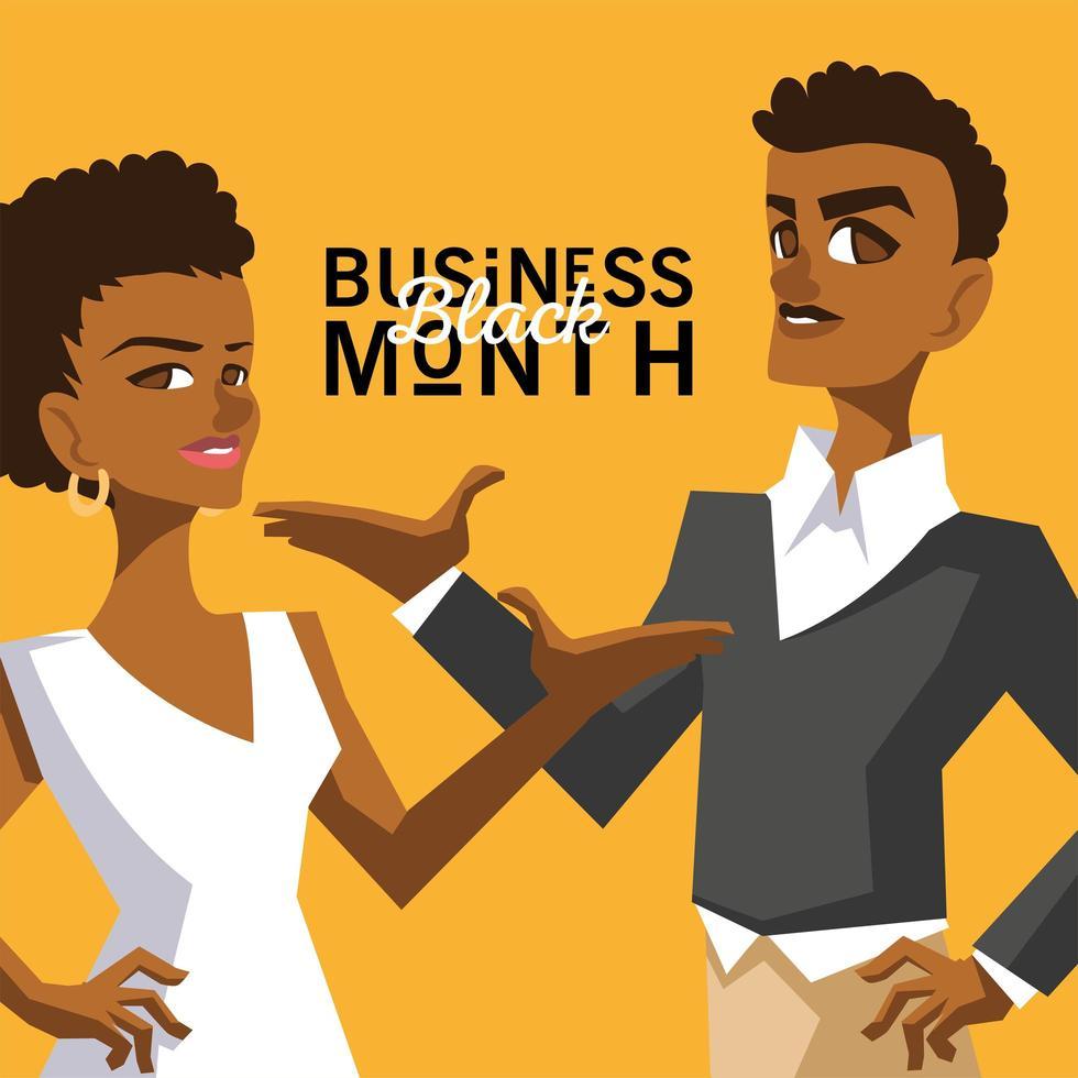 mes de negocios negro con mujer y hombre vector